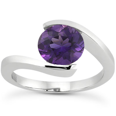 Tension Set Amethyst Ring, 14K White Gold