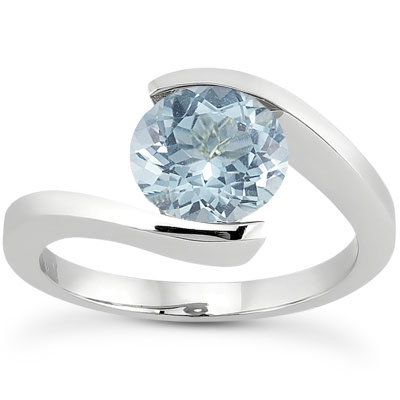 Tension Set Aquamarine Ring, 14K White Gold