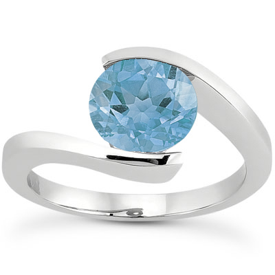 Tension Set Blue Topaz Ring, 14K White Gold