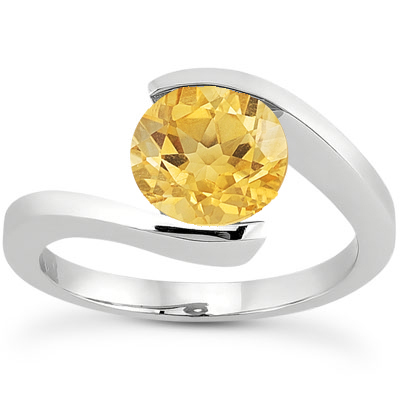 Tension Set Citrine Ring, 14K White Gold