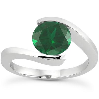Tension Set Emerald Engagement Ring