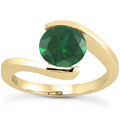 Tension Set Emerald Engagement Ring in 14K Yellow Gold