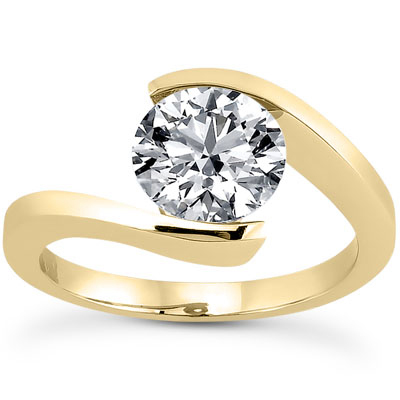 Tension Set CZ Engagement Ring in 14K Yellow Gold