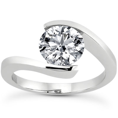 Tension Set CZ Engagement Ring in 14K White Gold