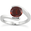 Tension Set Garnet Ring, 14K White Gold