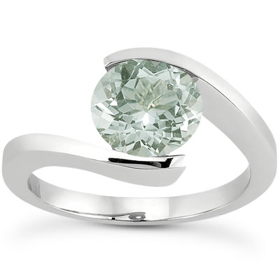 Tension Set Green Amethyst Ring, 14K White Gold