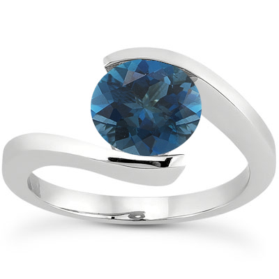 Tension Set London Blue Topaz Ring