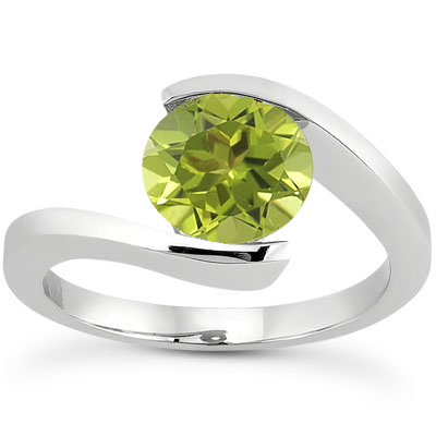Tension Set Peridot Ring, 14K White Gold