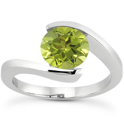 Tension Set Peridot Ring, 14K White Gold