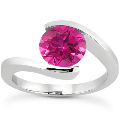 Tension-Set Pink Sapphire Ring, 14K White Gold