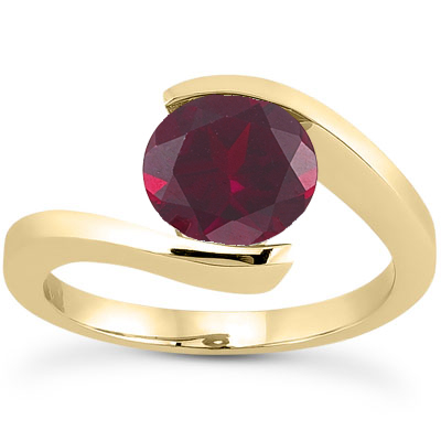 Tension Set Ruby Engagement Ring, 14K Yellow Gold