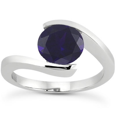 Tension Set Sapphre Engagement Ring