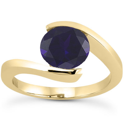 Tension Set Sapphire Engagement Ring in 14K Yellow Gold