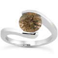 Smoky Quartz Tension Set Ring, 14K White Gold