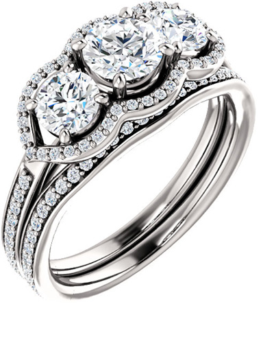Three Stone Diamond Halo Bridal Engagement Wedding Ring Set