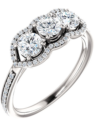 1 Carat Three Stone Diamond Halo Ring in 14K White Gold