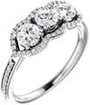 1 Carat Three Stone Diamond Halo Ring in 14K White Gold