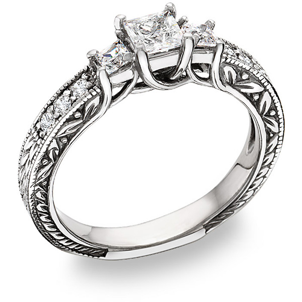 1 1/2 Carat Three-Stone Princess-Cut Diamond Floral Engagement Ring