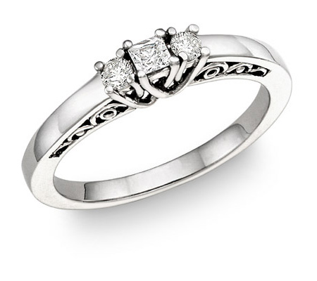1/4 Carat Three-Stone Princess-Cut & Round Diamond Engagement Ring