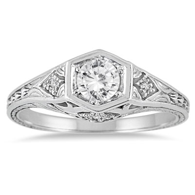 Vintage-Inspired 3/8 Carat Diamond Ring, 14K White Gold