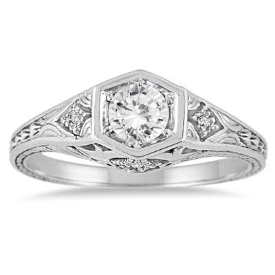 Vintage-Inspired 3/8 Carat Diamond Ring, 14K White Gold