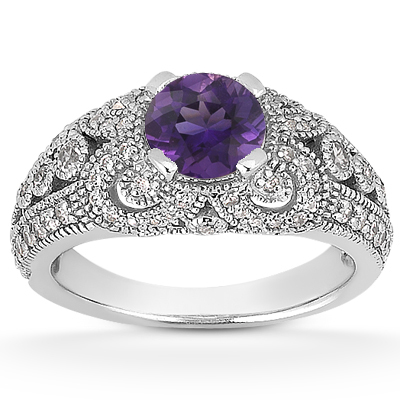 Vintage Style Amethyst and Diamond Ring, 14K White Gold
