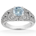 Vintage Style Aquamarine and Diamond Ring, 14K White Gold