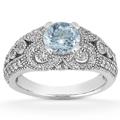 Vintage Style Aquamarine and Diamond Ring, 14K White Gold