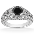 1/2 Carat Black Diamond Vintage Style Engagement Ring