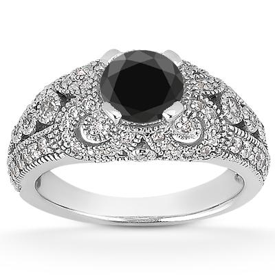 0.89 Carat Black and White Diamond Vintage Style Engagement Ring