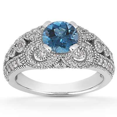 1/2 Carat Blue Diamond Vintage Engagement Ring