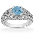 Vintage Style Blue Topaz and Diamond Ring, 14K White Gold