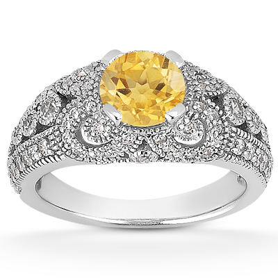 Vintage Style Citrine and Diamond Ring, 14K White Gold