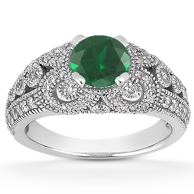 Vintage Style Emerald and Diamond Engagement Ring