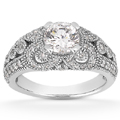 0.50 Carat Moissanite and Diamond Vintage Style Engagement Ring