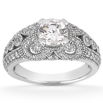 089 carat vintage style engagement ring - Antique Style Wedding Rings