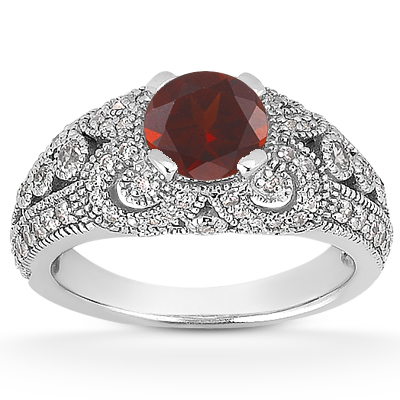 Vintage Style Garnet and Diamond Ring, 14K White Gold