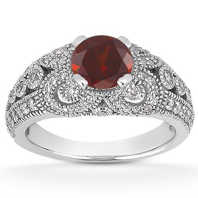 Vintage Style Garnet and Diamond Ring, 14K White Gold