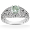 Vintage Style Green Amethyst and Diamond Ring, 14K White Gold