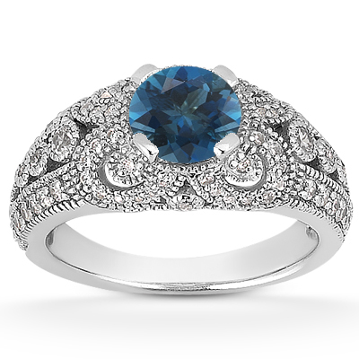Vintage Style London Blue Topaz and Diamond Ring