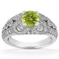Vintage Style Peridot and Diamond Ring, 14K White Gold