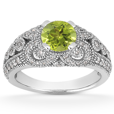 Vintage Style Peridot and Diamond Ring, 14K White Gold
