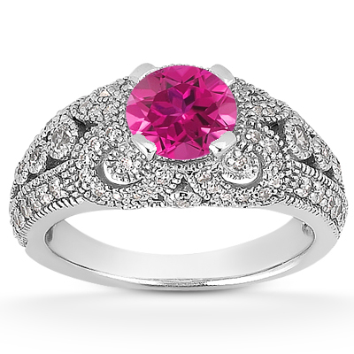 Vintage Pink Sapphire and Diamond Engagement Ring