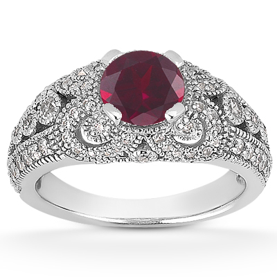 Vintage Style Ruby Engagement Ring