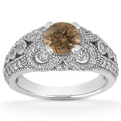 Vintage Style Smoky Quartz and Diamond Ring