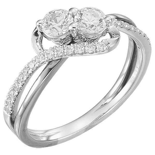 White Gold 2-Stone 3/4 Carat Diamond Engagement Ring