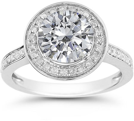 Moissanite and Diamond Halo Ring in 14K White Gold