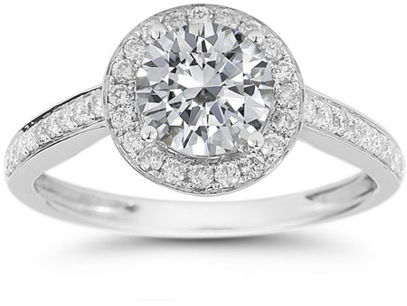 Modern Halo Moissanite Diamond Ring in 14K White Gold
