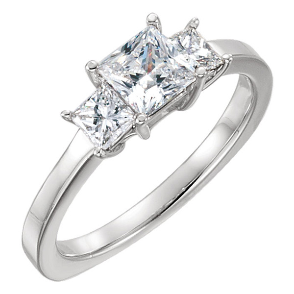 Platinum Three-Stone Princess-Cut 1 1/4 Carat Diamond Engagement Ring