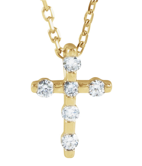 Small 0.10 Carat Diamond Cross Necklace in 14K Gold
